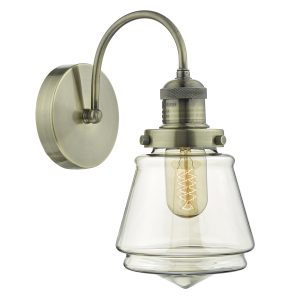 Curtis Wall Light Antique Brass & Champagne Glass