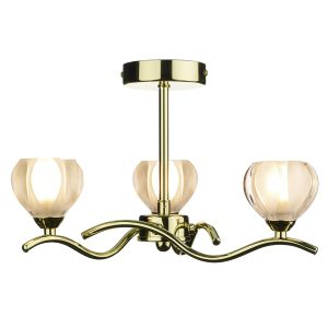 Cynthia 3 Light Semi Flush Polished Brass