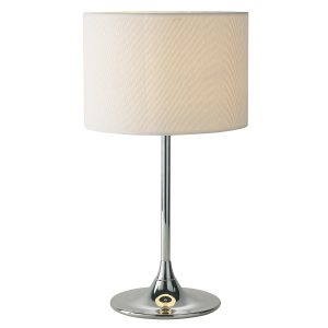 Delta Table Lamp Chrome C/W Ivory Woven Shade