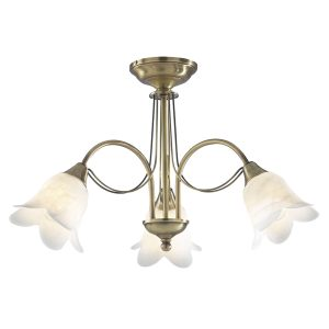 Doublet 3 Light Semi Flush Antique Brass C/W Alabaster Glass
