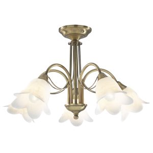 Doublet 5 Light Semi Flush Antique Brass C/W Alabaster Glass