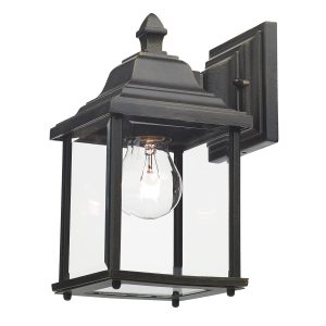 Doyle Wall Bracket Lantern Black Gold IP44