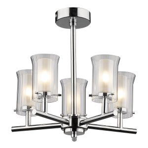 Elba 5 Light Semi Flush Polished Chrome IP44
