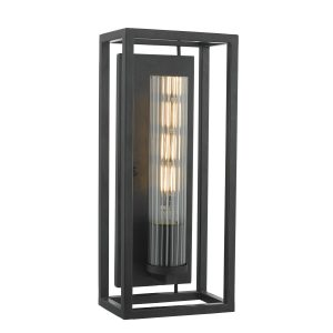 Felipe Wall Light Black & Ribbed Glass