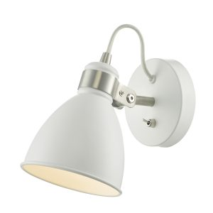 Frederick Wall Light White & Satin Chrome