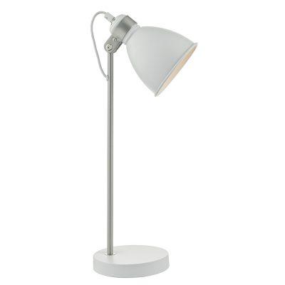 Frederick Task Lamp White & Satin Chrome