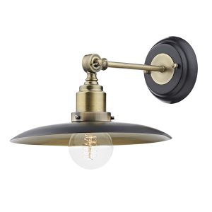 Hannover 1 Light Wall Bracket Black/Antique Brass