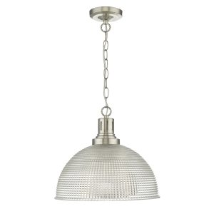 Hodges 1 Light Glass Satin Nickel Clear
