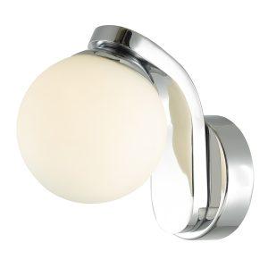 Iker 1lt Wall Light IP44 Polished Chrome & Opal Glass