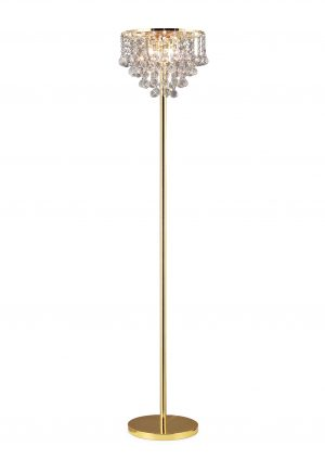 Atla Floor Lamp 4 Light French Gold/Crystal
