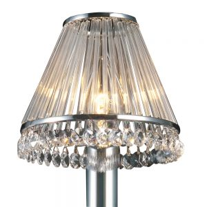 Crystal Clip-On Shade With Clear Glass Rods Chrome/Crystal