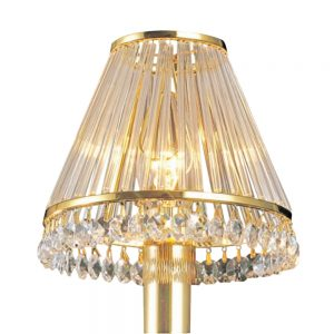 Crystal Clip-On Shade With Clear Glass Rods French Gold/Crystal