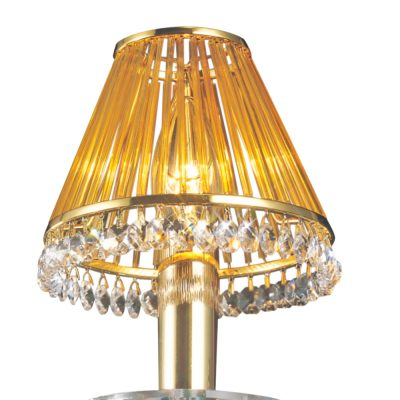 Crystal Clip-On Shade With Amber Glass Rods French Gold/Crystal
