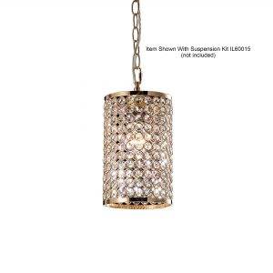 Kudo Cylinder Shade  French Gold/Crystal