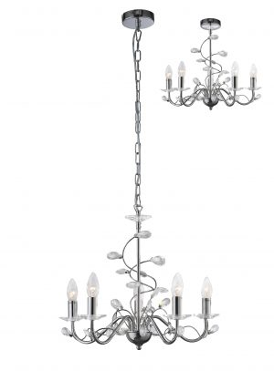Willow Pendant Base Only 5 Light Chrome/Crystal
