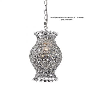 Kudo Crystal Vase Shade  Chrome/Crystal