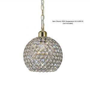 Kudo Crystal Ball Shade  Antique Brass/Crystal