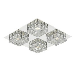 Imogen LED flush glass faceted squares Polished Chrome frame