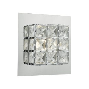Imogen Wall Light LED glass faceted squares Polished Chrome frame