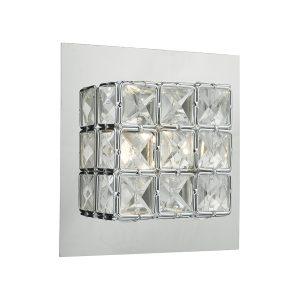 Imogen Wall Light LED glass faceted squares Polished Chrome frame