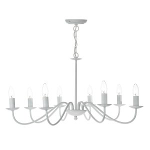 Irwin 8 Light Pendant Dual Mount White