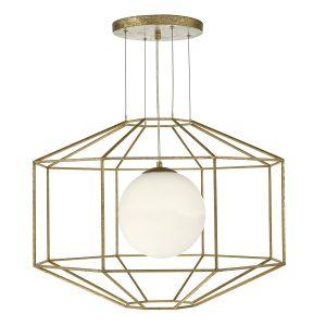 Izmir 1 Light Pendant Hexagonal Old Gold Frame Opal Glass