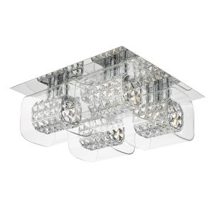KABUKI 4LT G9 flush polished chrome with crystal beads in clear glass shade