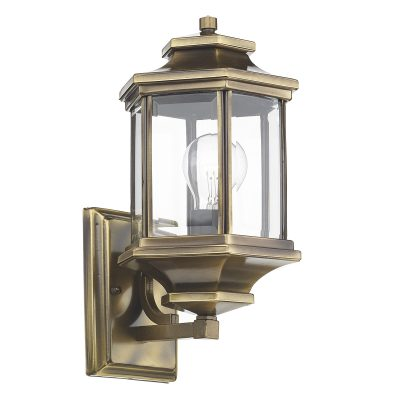 Ladbroke Lantern Antique Brass C/W Bevelled Glass IP44