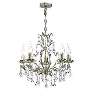 Laquila 5 Light Chandelier Antique Gold & Silver Crystal Droppers