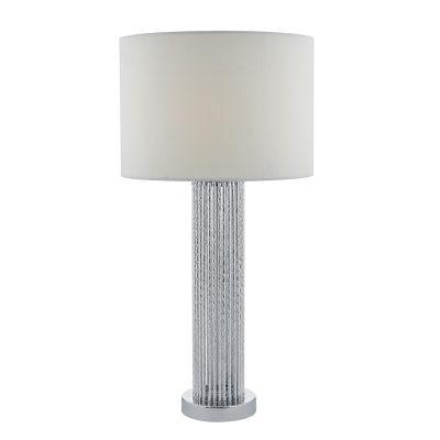 Lazio Table Lamp Silver C/W White Cotton Shade