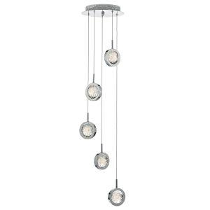 Livia 5lt Cluster LED Pendant Polished Chrome & Glass Spheres