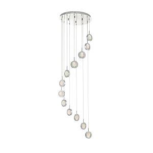 Livia 12lt Cluster LED Pendant Polished Chrome & Glass Spheres
