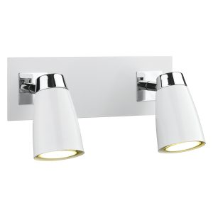 Loft 2 Light Low Energy Spot Switch Polished Chrome & Matt White