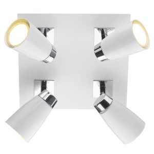 Loft 4 Light Square Plate Polished Chrome & Matt White