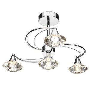 Luther 4 Light Semi Flush C/W Crystal Glass Polished Chrome