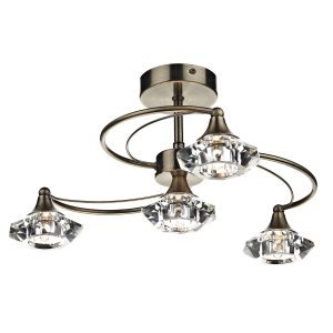 Luther 4 Light Semi Flush C/W Crystal Glass Antique Brass