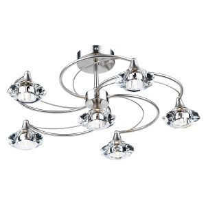 Luther 6 Light Semi Flush C/W Crystal Glass Satin Chrome