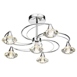 Luther 6 Light Semi Flush C/W Crystal Glass Polished Chrome
