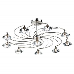 Luther 10 Light Semi Flush C/W Crystal Glass Satin Chrome