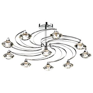Luther 10 Light Semi Flush C/W Crystal Glass Polished Chrome