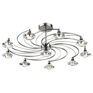 Luther 10 Light Semi Flush C/W Crystal Glass Black Chrome