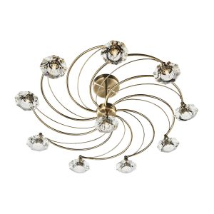 Luther 10 Light Semi Flush C/W Crystal Glass Antique Brass