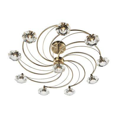 Luther 10 Light Semi Flush C/W Crystal Glass Antique Brass