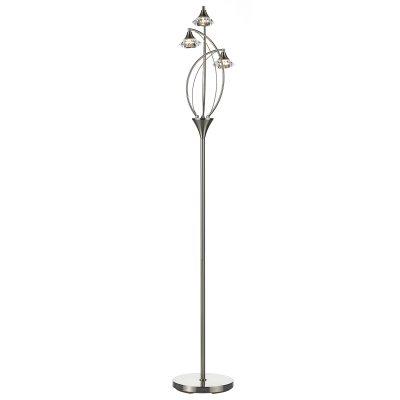Luther 3 Light Floor Lamp C/W Crystal Glass Satin Chrome