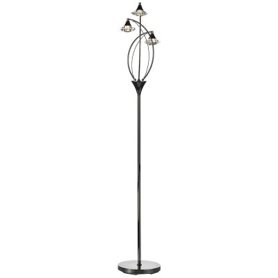 Luther 3 Light Floor Lamp C/W Crystal Glass Black Chrome