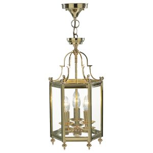 Moorgate Hexagonal Hall Lantern Dual Mount Polished Brass