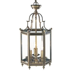 Moorgate Hexagonal Hall Lantern Dual Mount Antique Brass