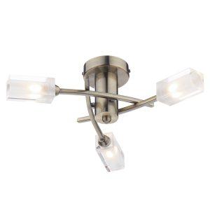 Morgan 3 Light Semi Flush Antique Brass