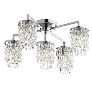 Niagra 5 Light Flush Polished Chrome Clear