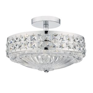 Olona 3 Light Semi Flush Polished Chrome Crystal Beads and Glass Diffuser